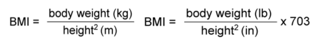 BMI formulas (Metric Units & US Units)